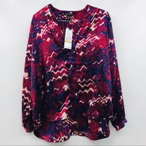 New Kenneth Cole Red Purple Print Blouse Shirt